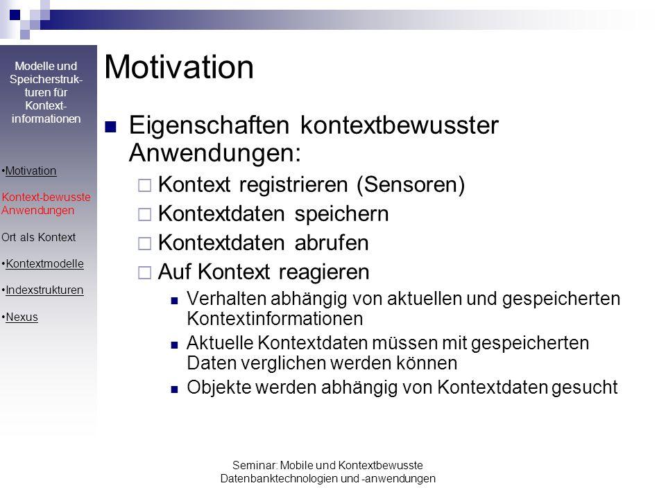 Motivation Eigenschaften kontextbewusster Anwendungen: