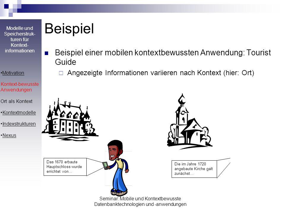 Beispiel Beispiel einer mobilen kontextbewussten Anwendung: Tourist Guide. Angezeigte Informationen variieren nach Kontext (hier: Ort)