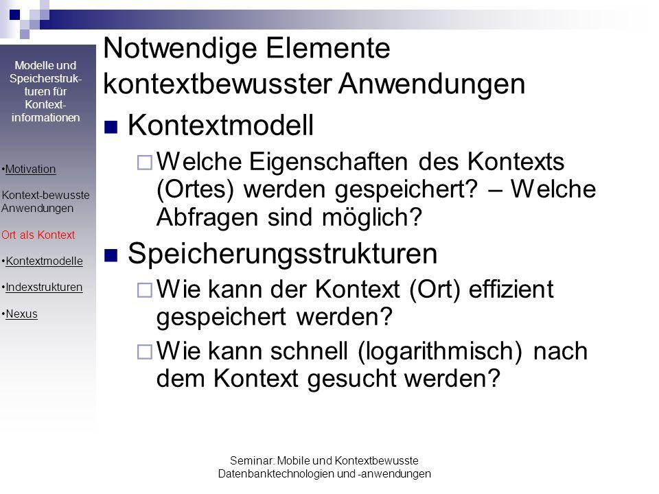 Notwendige Elemente kontextbewusster Anwendungen