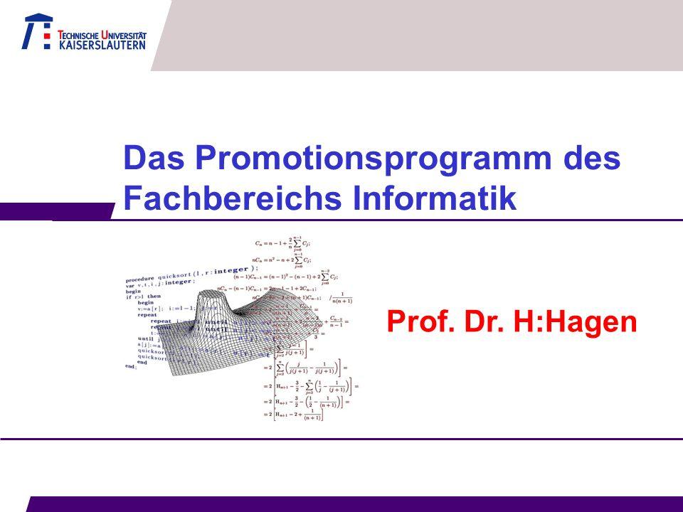 Das Promotionsprogramm des Fachbereichs Informatik