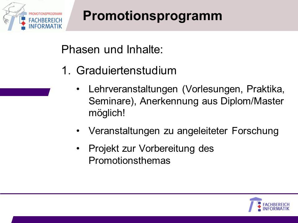 Promotionsprogramm Phasen und Inhalte: Graduiertenstudium