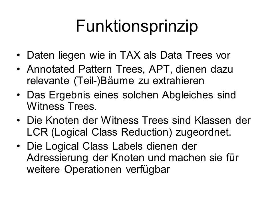 Funktionsprinzip Daten liegen wie in TAX als Data Trees vor