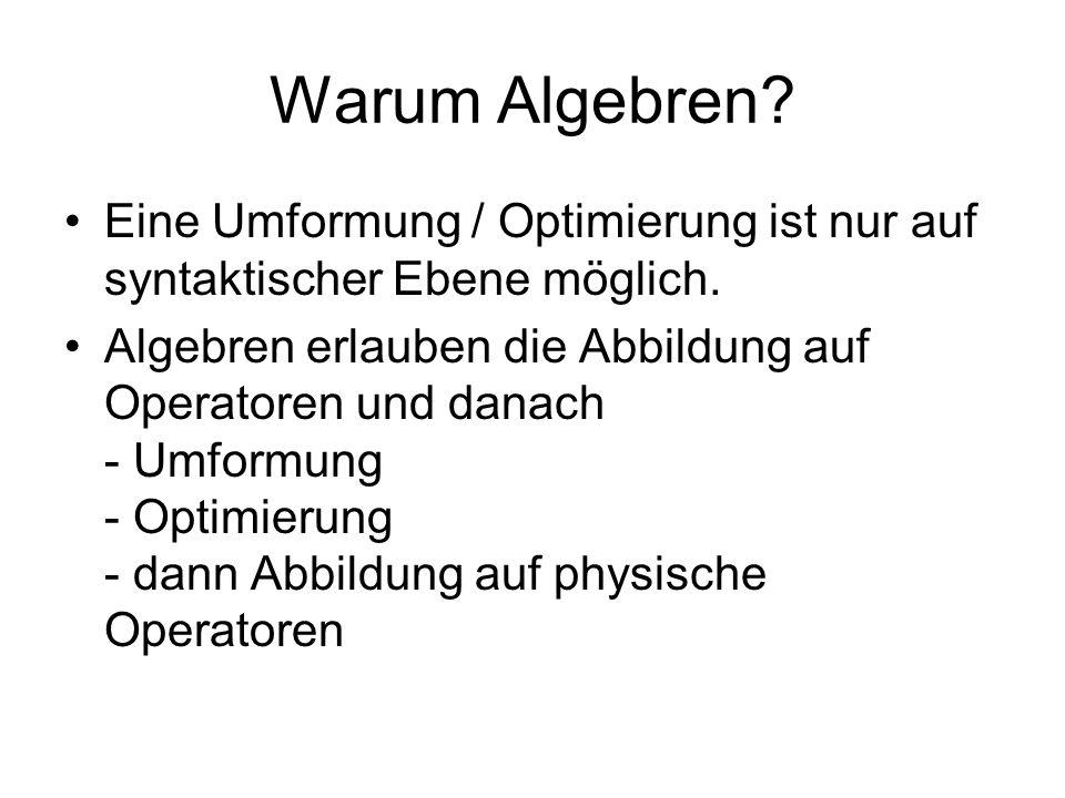 Warum Algebren Eine Umformung / Optimierung ist nur auf syntaktischer Ebene möglich.