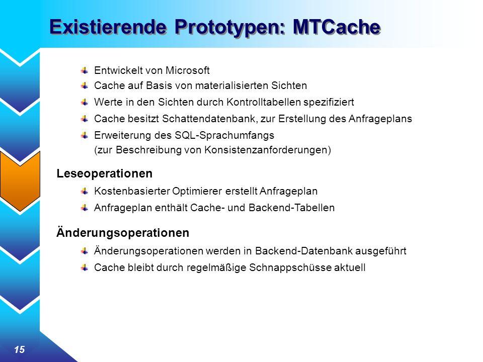 Existierende Prototypen: MTCache