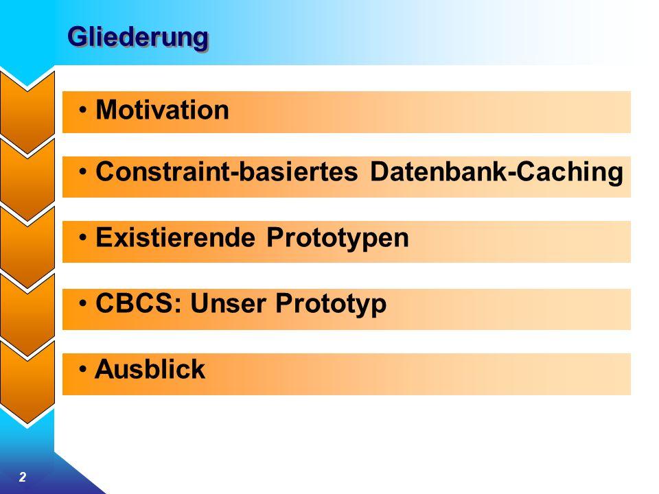 Gliederung Motivation. Constraint-basiertes Datenbank-Caching. Existierende Prototypen. CBCS: Unser Prototyp.