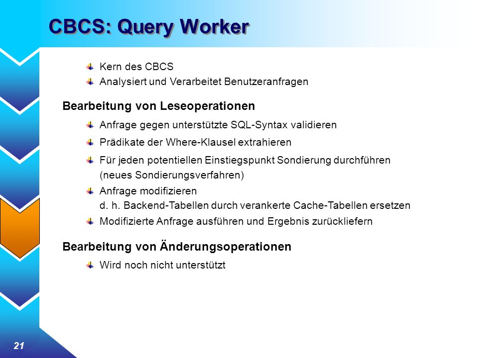 CBCS: Query Worker Bearbeitung von Leseoperationen