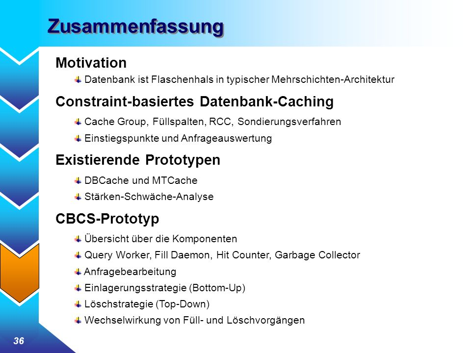 Zusammenfassung Motivation Constraint-basiertes Datenbank-Caching