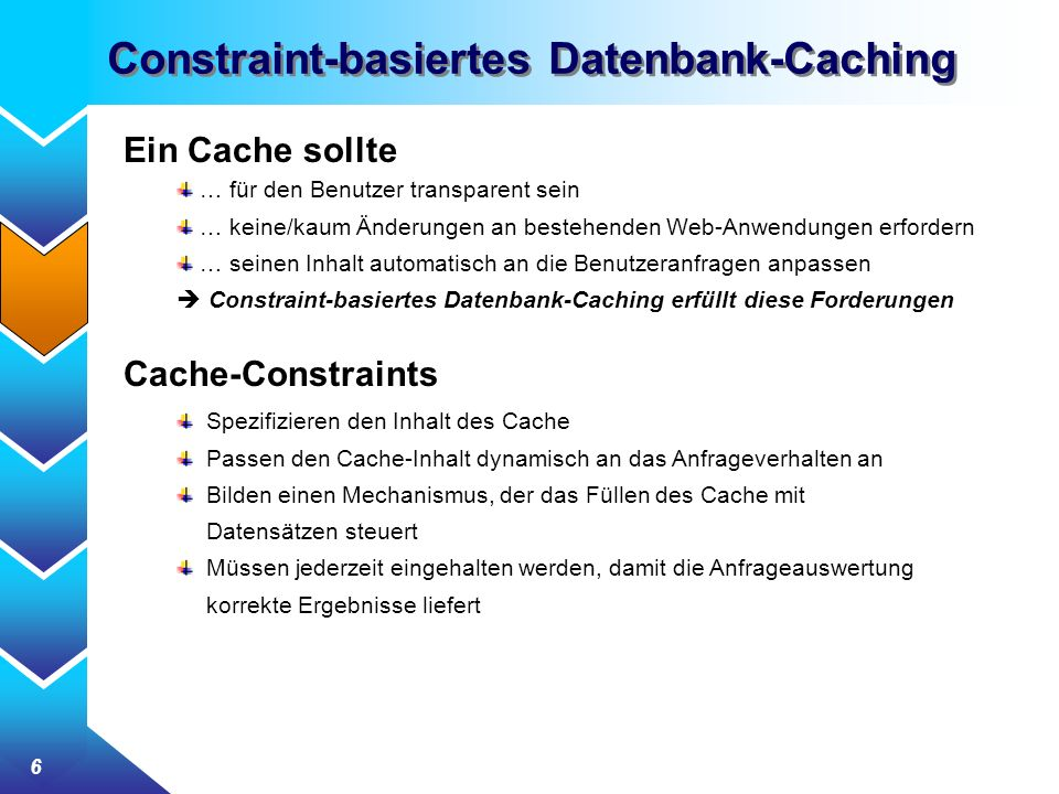 Constraint-basiertes Datenbank-Caching
