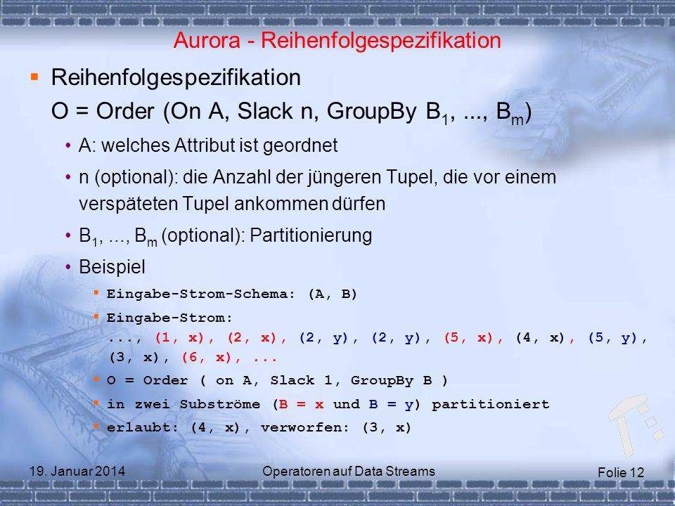 Aurora - Reihenfolgespezifikation