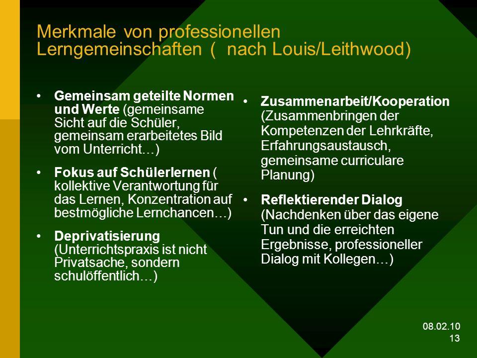 Merkmale von professionellen Lerngemeinschaften ( nach Louis/Leithwood)