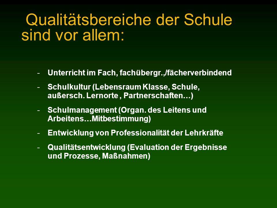 Qualitätsbereiche der Schule sind vor allem: