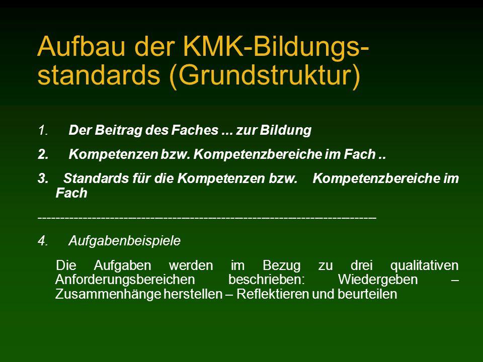 Aufbau der KMK-Bildungs- standards (Grundstruktur)
