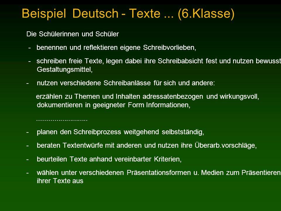Beispiel Deutsch - Texte ... (6.Klasse)