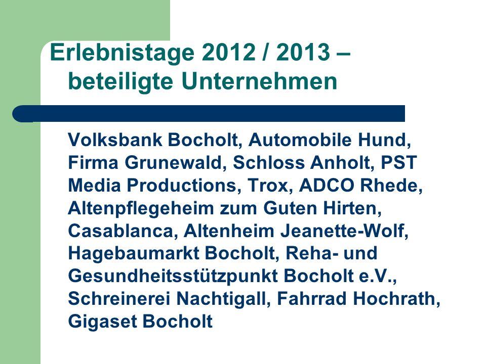 Erlebnistage 2012 / 2013 – beteiligte Unternehmen