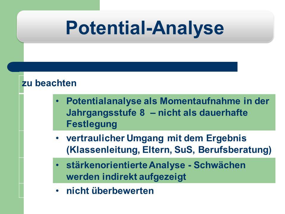 Potential-Analyse zu beachten