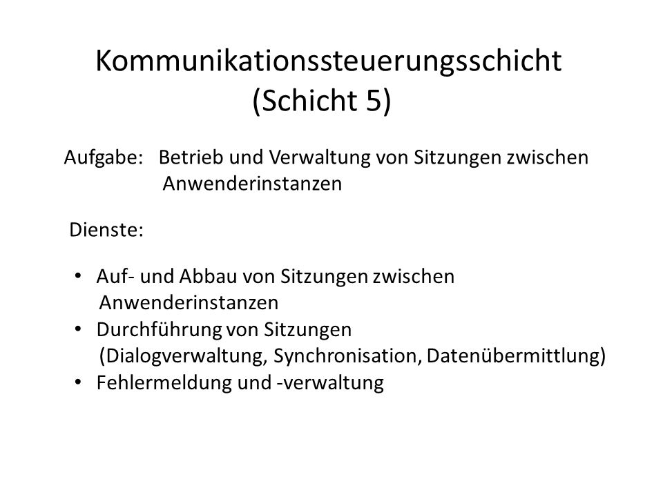 Kommunikationssteuerungsschicht (Schicht 5)