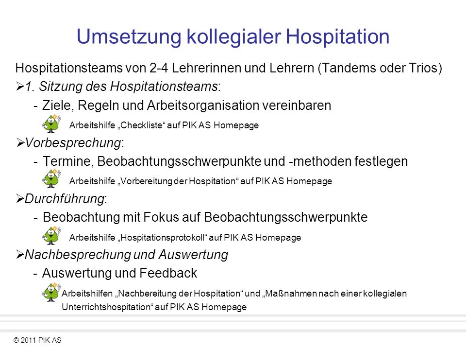 Umsetzung kollegialer Hospitation