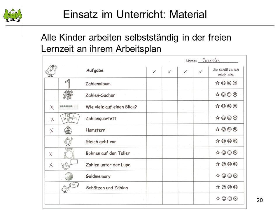 Einsatz im Unterricht: Material