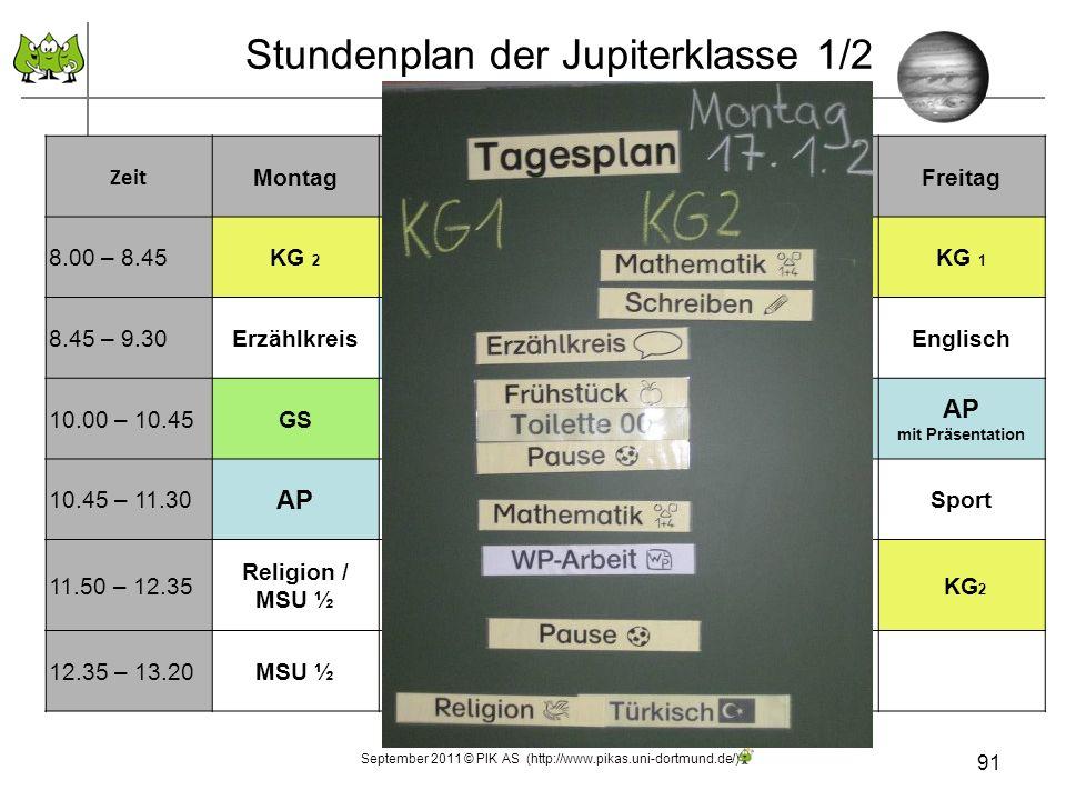 Stundenplan der Jupiterklasse 1/2