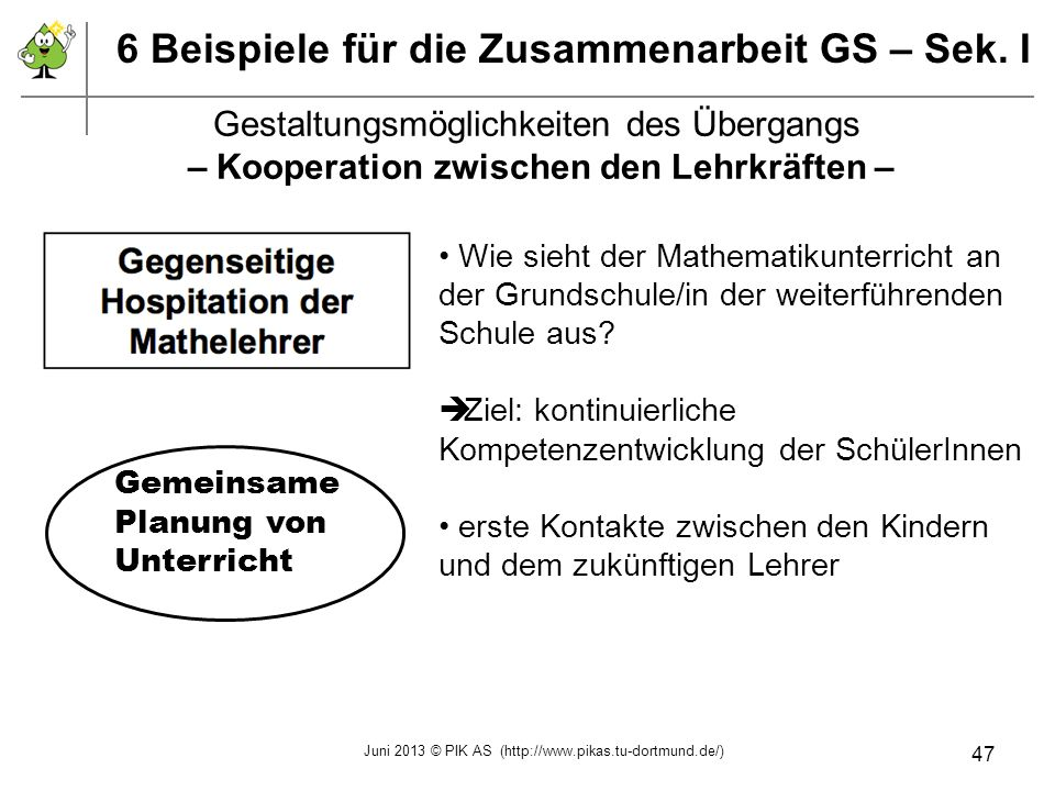 – Kooperation zwischen den Lehrkräften –