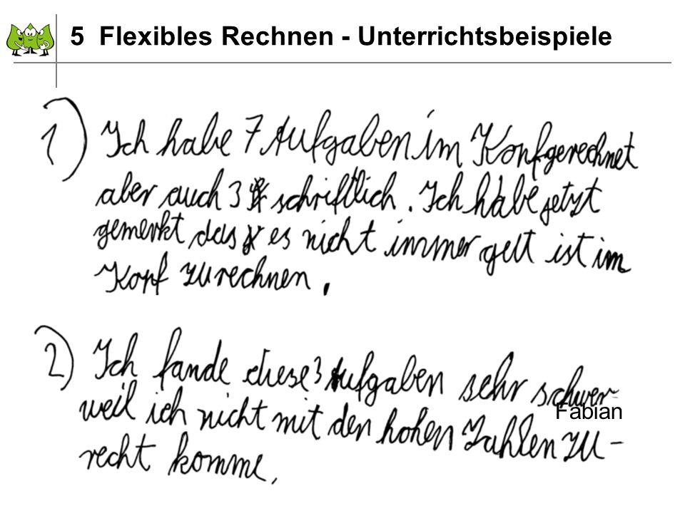 5 Flexibles Rechnen - Unterrichtsbeispiele