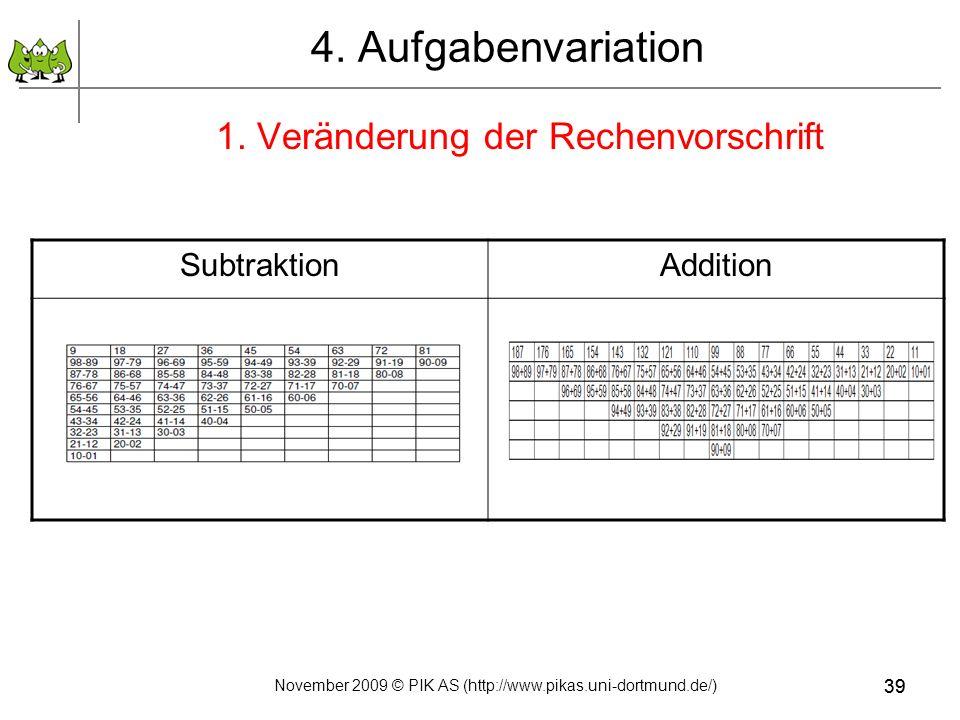 4. Aufgabenvariation 1. Veränderung der Rechenvorschrift Subtraktion