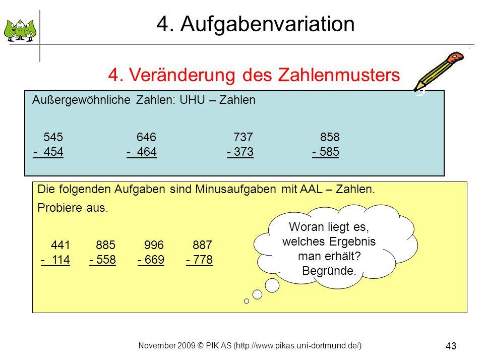 4. Aufgabenvariation 4. Veränderung des Zahlenmusters