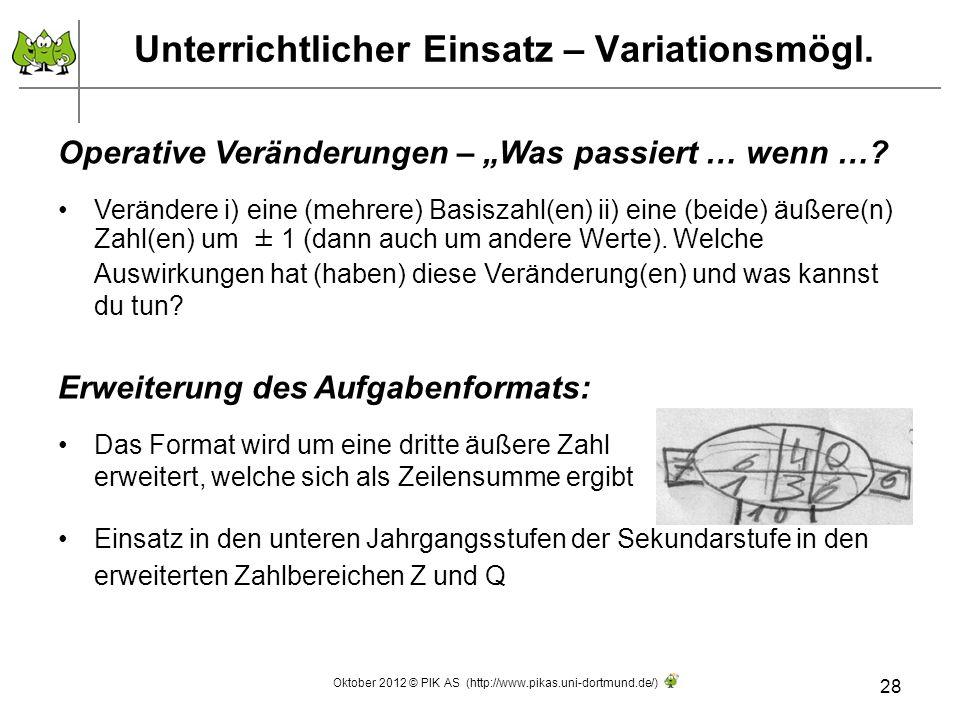 Unterrichtlicher Einsatz – Variationsmögl.