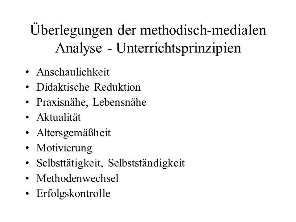 Überlegungen der methodisch-medialen Analyse - Unterrichtsprinzipien
