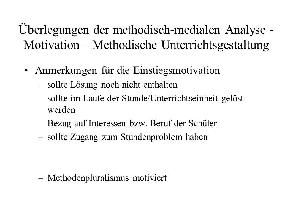 Überlegungen der methodisch-medialen Analyse - Motivation – Methodische Unterrichtsgestaltung