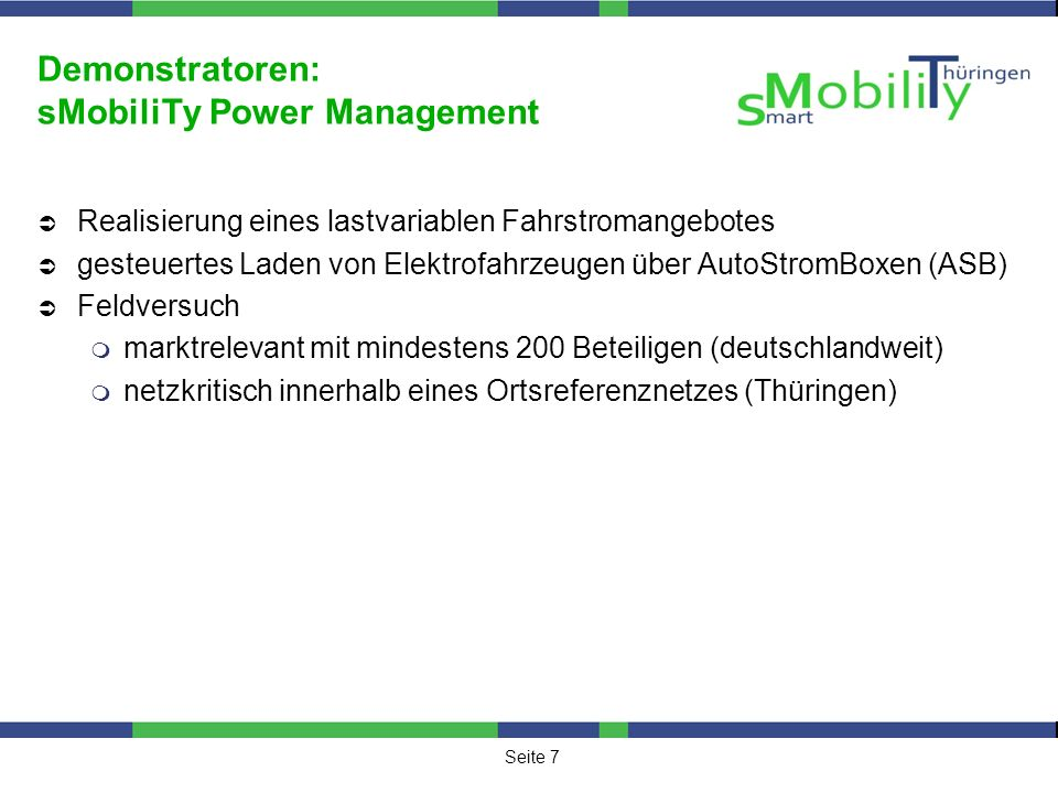 Demonstratoren: sMobiliTy Power Management