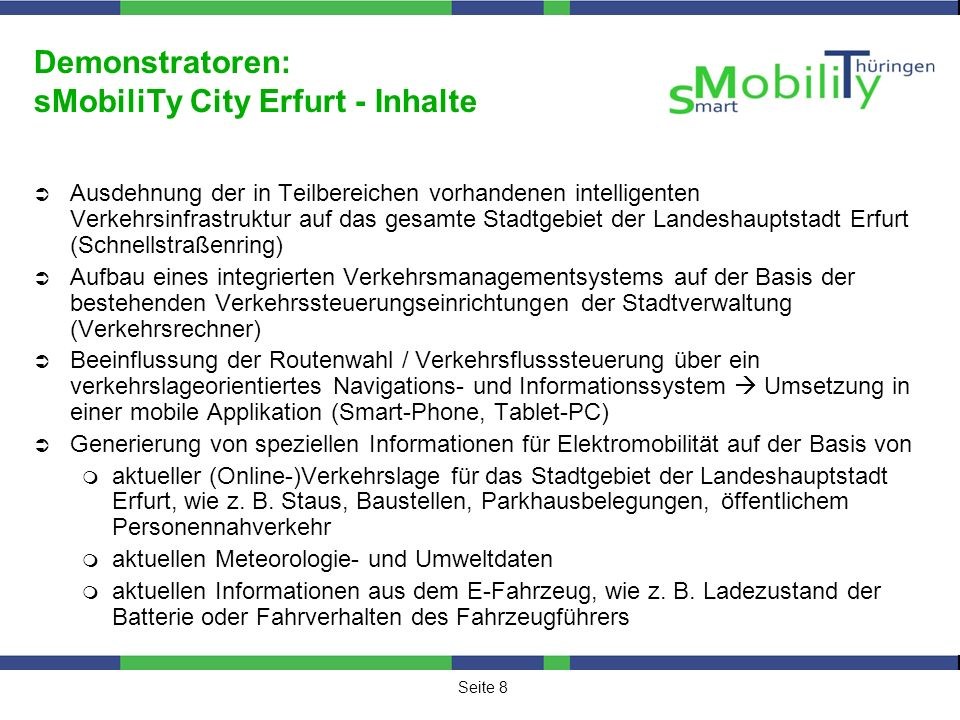 Demonstratoren: sMobiliTy City Erfurt - Inhalte