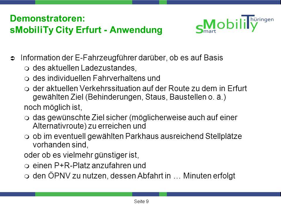 Demonstratoren: sMobiliTy City Erfurt - Anwendung