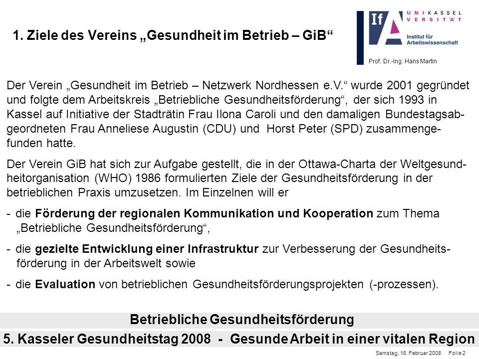 """1. Ziele des Vereins """"Gesundheit im Betrieb – GiB"""