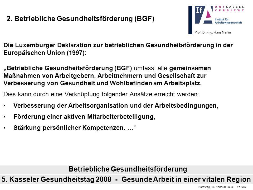 2. Betriebliche Gesundheitsförderung (BGF)