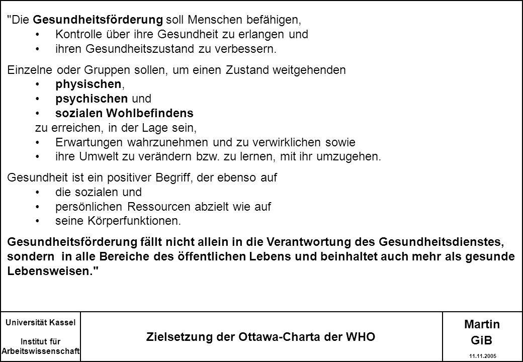Zielsetzung der Ottawa-Charta der WHO