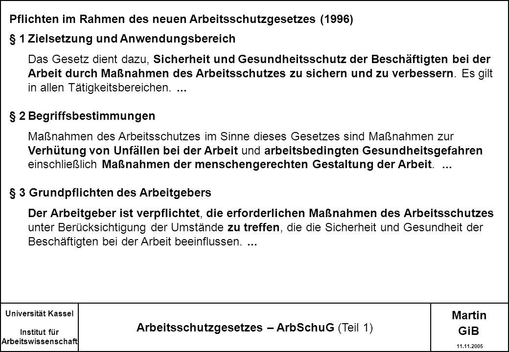 Arbeitsschutzgesetzes – ArbSchuG (Teil 1)