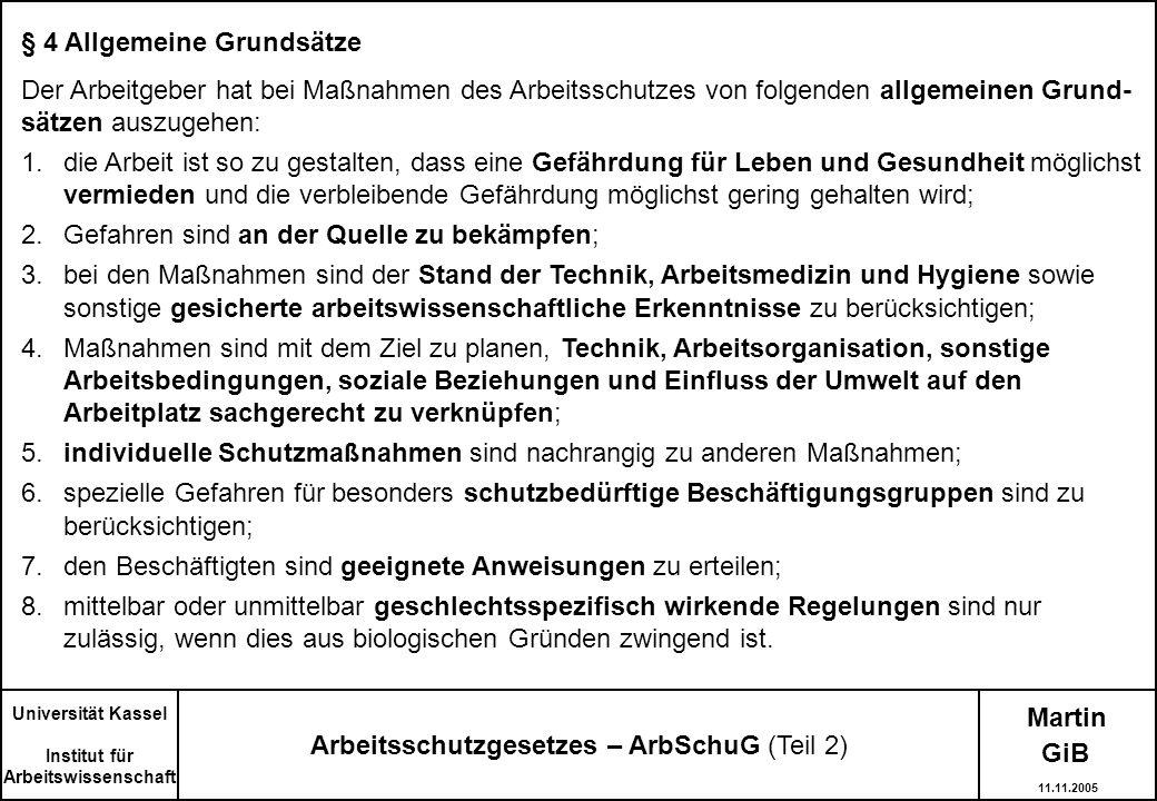Arbeitsschutzgesetzes – ArbSchuG (Teil 2)