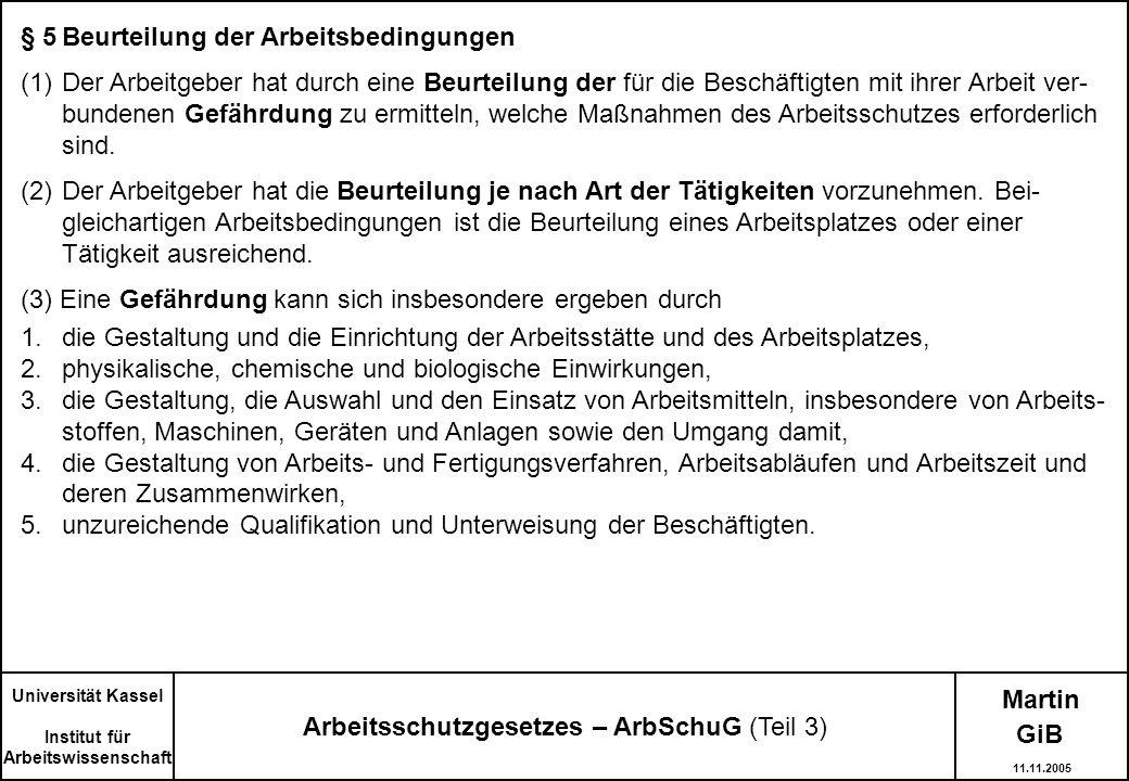 Arbeitsschutzgesetzes – ArbSchuG (Teil 3)