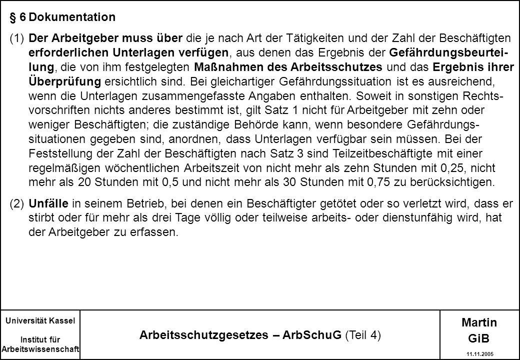 Arbeitsschutzgesetzes – ArbSchuG (Teil 4)
