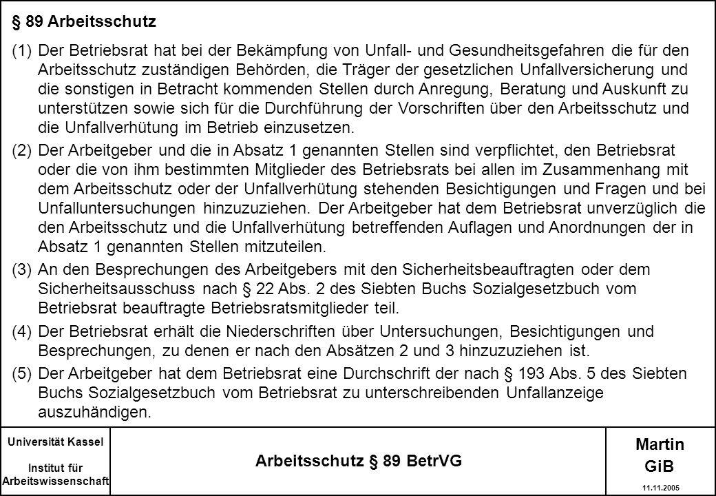 Arbeitsschutz § 89 BetrVG