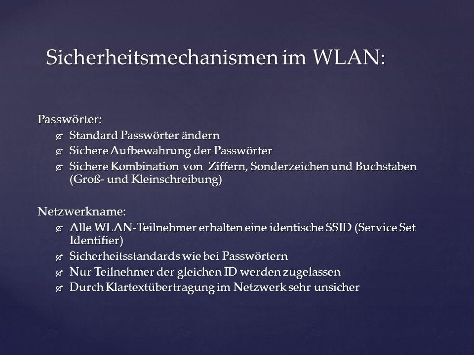Sicherheitsmechanismen im WLAN: