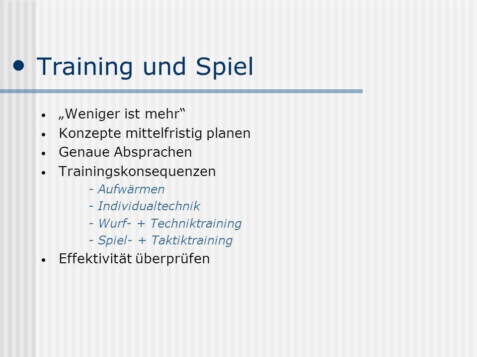 """Training und Spiel """"Weniger ist mehr Konzepte mittelfristig planen"""