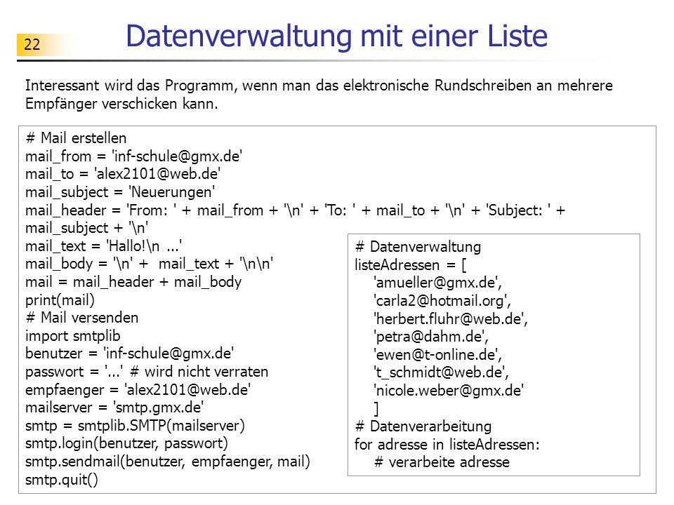 Datenverwaltung mit einer Liste