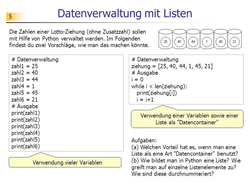 Datenverwaltung mit Listen