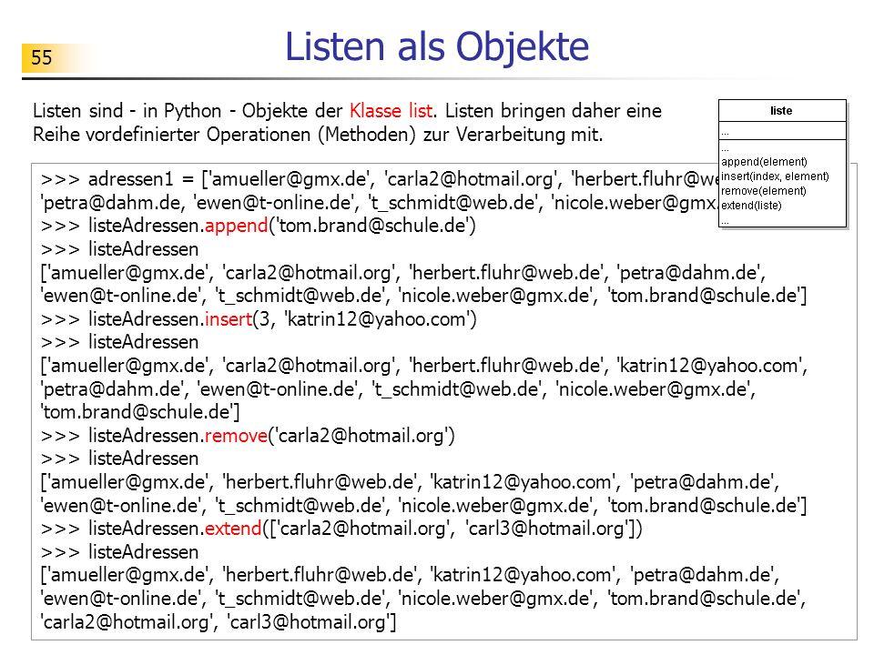 Listen als Objekte