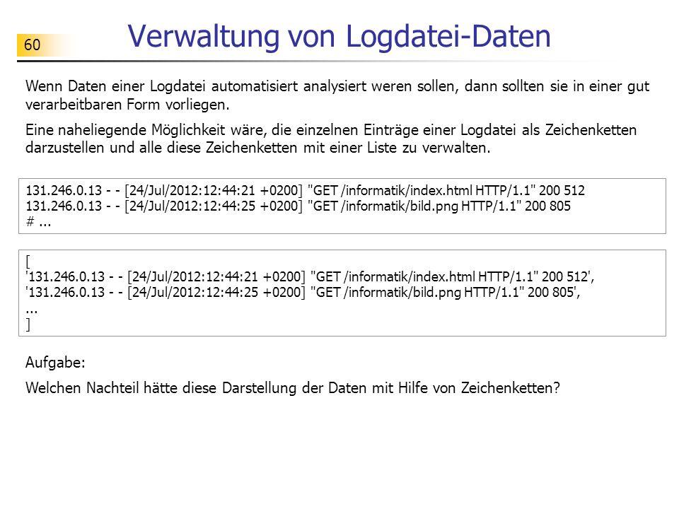 Verwaltung von Logdatei-Daten