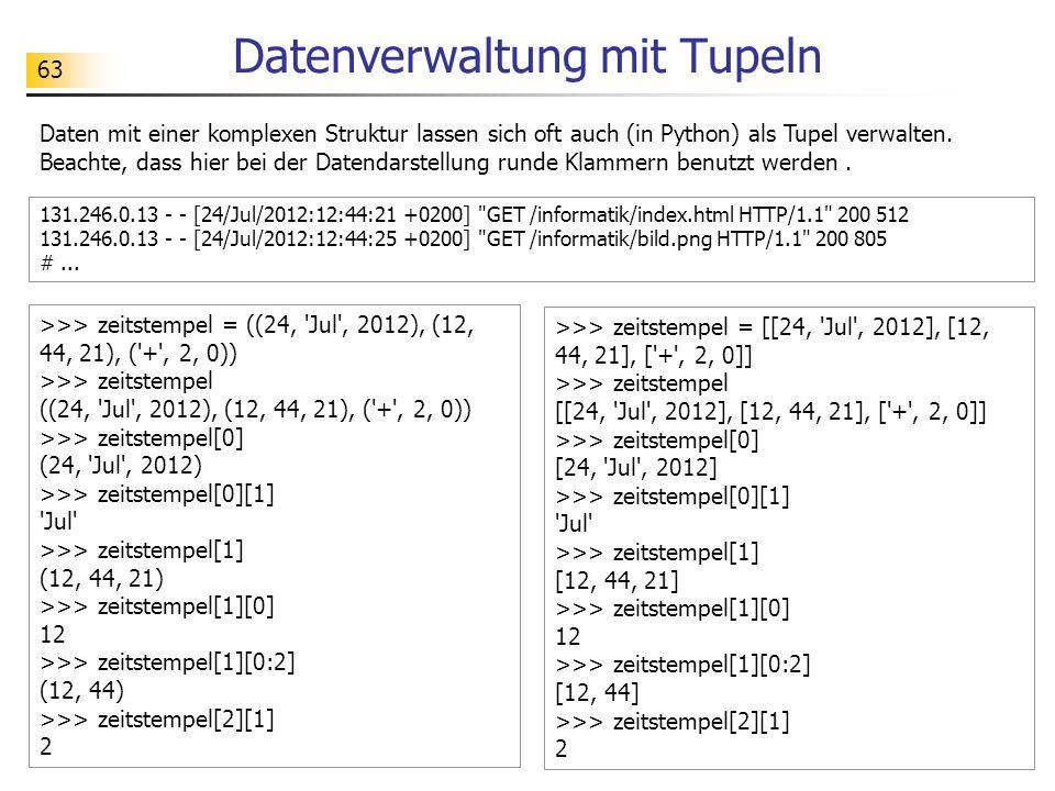 Datenverwaltung mit Tupeln