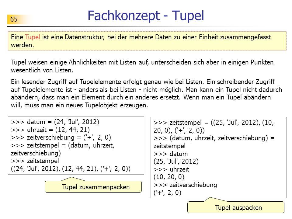 Fachkonzept - Tupel Eine Tupel ist eine Datenstruktur, bei der mehrere Daten zu einer Einheit zusammengefasst werden.