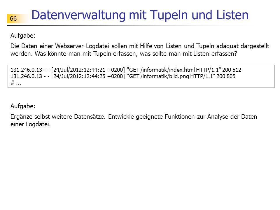 Datenverwaltung mit Tupeln und Listen